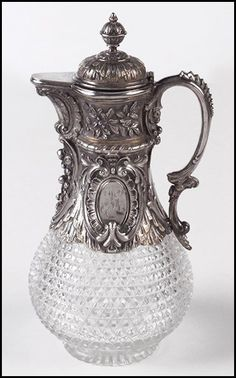 GERMAN .800 SILVER AND CRYSTAL CLARET JUG. :