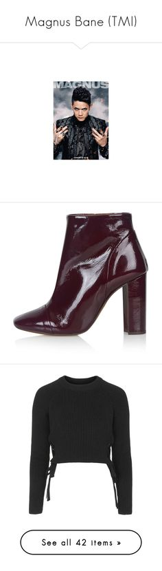 """Magnus Bane (TMI)"" by happy-fashionx ❤ liked on Polyvore featuring fandoms, shoes, boots, ankle booties, bordeaux, ankle boots, high heel booties, patent boots, patent leather ankle boots and bootie boots"