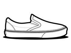 Vans Slip On Temlplate - Left. Vans Slip On, Vans Classic Slip On, Slip On Shoes, Van Drawing, Shoe Cupcakes, Shoes Vector, Sneakers Sketch, Shoe Template, Fashion Templates