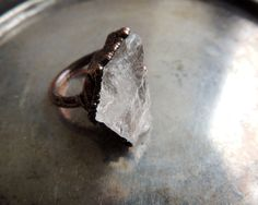 Quartz ring 4.5 size US, electroformed jewelry, raw ring, druzy ring, bohemian style, MARIAELA by MARIAELA on Etsy https://www.etsy.com/listing/490726317/quartz-ring-45-size-us-electroformed