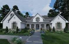 Find your dream modern-farmhouse style house plan such as Plan which is a 2459 sq ft, 4 bed, 3 bath home with 2 garage stalls from Monster House Plans. House Plans One Story, One Story Homes, Ranch House Plans, Cottage House Plans, Best House Plans, Story House, Cottage Homes, Farm House, 2200 Sq Ft House Plans