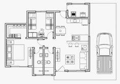 Planta baixa humanizada de casa térrea urbana com 2 quartos e uma suíte