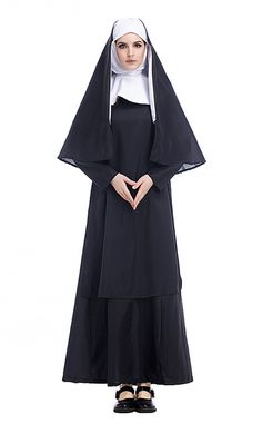 Special Use: Costumes Gender: Women Characters: Halloween Costumes Characters: Nun Packing: Dress+Headwear+Shawl Size: S Bust 92cm,Dress Length 138cm,Sleeve length 55cm M Bust 100cm,Dress Length 141cm,Sleeve length 57cm L Bust 108cm,Dress Length 144cm,Sleeve length 59cm XL Bust 116cm,Dress Length 147cm,Sleeve length 60cm XXL Bust 124cm,Dress Length 150cm,Sleeve length 62cm Material: Polyester,Cotton