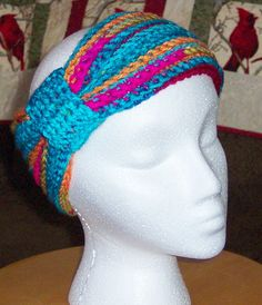 Flapper style crochet headband turquoise red by mamakcrafts