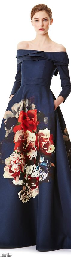 Carolina Herrera ~ Lovely Rose Print Off the Shoulder Maxi Dress, Pre-Fall 2015