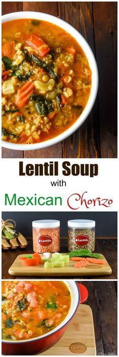 Lentil Soup with Mexican Chorizo adds a kick of spicy chorizo, taco seasoning and jalapeños to traditional lentil soup. #LoveaLentil #ad via @flavormosaic