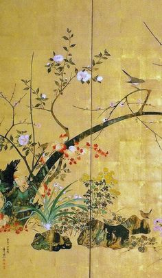 Suzuki Kiitsu. 1854. Birds and Flowers of the Four Seasons. Detail of Japanese folding screen. Nineteenth century.