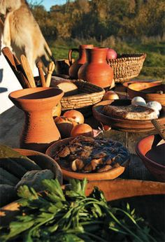 Medieval food, dishes, and table idea