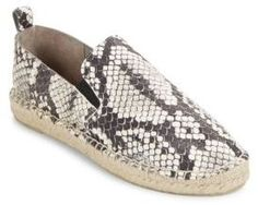 Robin Snake-Embossed Leather Espadrilles