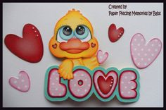 Items similar to Valentine Duck Set Premade Paper Piecing Embellishment for Scrapbook Pages by Babs on Etsy Scrapbook Paper Crafts, Scrapbook Pages, Disney Fireworks, How To Make Scrapbook, Crayon Set, Bottle Crafts, Paper Piecing, Diy Paper, Craft Fairs