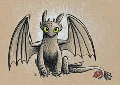 Toothless by Christie Cox, signed 5X7 print