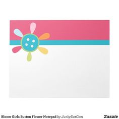 Bloom Girls Button Flower Notepad - June 27