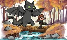 A Calvin and Hobbes meets Toothless and Hiccup mash up.  I love stories about best friends adventuring.
