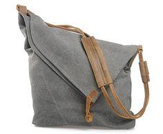 Schultertasche Leder in grau // canvas bag grey by MyBags via DaWanda.com