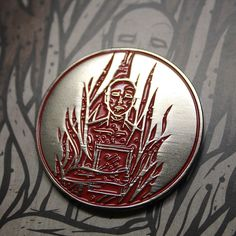 "This Fahrenheit 451 pin measures 1.5"" tall and is soft enamel with a black nickel plating and red enamel fill. Each pin comes on the backing card and has a rubber backing clutch. Perfect for your jack"