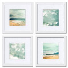 Nautical decor print set Fine art photography 5x5  - ocean photography - beach photography art print  blue wall art clickety summer surf