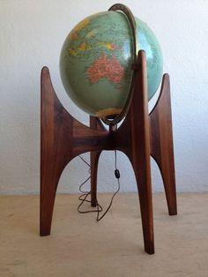 Adrian Pearsall for Craft Associates Mid Century Modern Walnut Replogle Globe