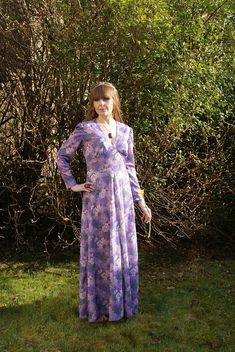 Your place to buy and sell all things handmade Lilac, Purple, Festival Dress, Floral Patterns, Vintage 70s, Vintage Outfits, Spring, Long Sleeve, Pretty