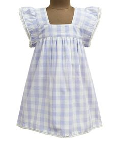 Look what I found on #zulily! Lavender Gingham Angel-Sleeve Dress - Toddler & Girls by A.T.U.N. #zulilyfinds