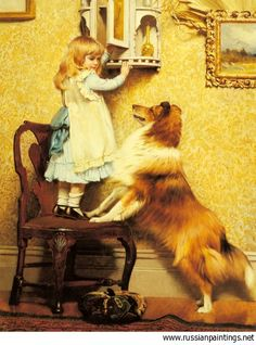 Barber Charles Burton - 'A Little Girl and Her Sheltie'