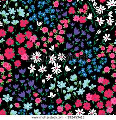 vector seamless bright colorful gentle hand drawn little ditsy flower pattern, summer garden, wildflowers, vibrant floral allover print on black background