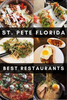 Find out where to eat in St. Pete, Florida with this foodie guide! It has 30 recommendations for the best St. Petersburg restaurants #florida #stpeteflorida #tampabay Florida Food, Florida Vacation, Florida Travel, Usa Travel, Travel Tips, Delicious Restaurant, Best Street Food, Best Places To Eat, Lunches And Dinners
