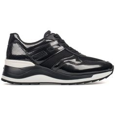 Hogan Rebel Sneakers ($270) ❤ liked on Polyvore featuring shoes, sneakers, black, black sneakers, black lace up shoes, patent shoes, patent leather sneakers and black patent shoes