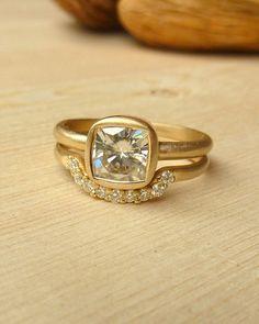 I SOOOOOOO LOVE THIS     Cushion Cut Moissanite Ring and Diamond Fitted Band by kateszabone, $1875.00