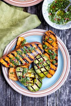 Sesame-Crusted Halloumi With Honey Drizzle & Griddled Sweet Potatoes & Avocados With Chimichurri at Denby