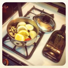 Secret to making your home smell nice : boil cinnamon stick, apple wedges, lemon and orange slices and cloves.  Home sweet home.  Thisishowmydaygoes.wordpress.com
