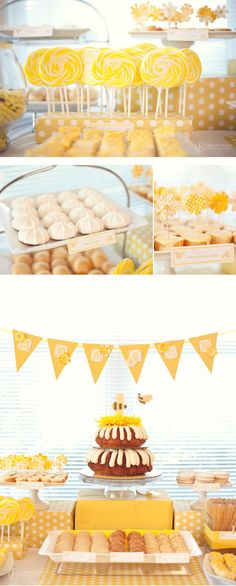 honey bee dessert table: yellow + white foods, yellow scrapbooking flowers on picks