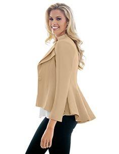 LookbookStore Women Double Notch Lapel Sharp Shoulder Pad Asymmetry Blazer at Amazon Women's Clothing store: Blazers And Sports Jackets