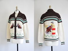vintage 1950s cowichan sweater/ 50s novelty knit/ western gal