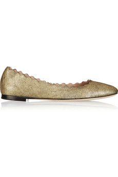 Chloé Lauren metallic nubuck ballet flats | NET-A-PORTER