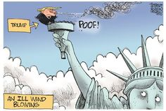 Trump, an ill wind blowing to snuff out American liberty. Political Cartoons by Jerry Holbert Political Satire, Political Cartoons, Caricatures, Donald Trump, Just In Case, Liberty, Politics, America, Shit Happens