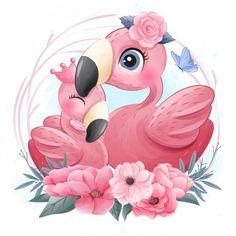 Cute flamingos, mother and daughter illu...   Premium Vector #Freepik #vector #watercolor #baby #flower #hand Watercolor Lion, Watercolor Animals, Baby Animal Drawings, Cute Drawings, Cute Images, Cute Pictures, Lama Animal, Giraffe Illustration, Ballerina Illustration