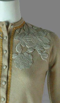 Vintage 1950's cashmere appliqué sweater ...what a beauty!