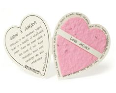 Seed Paper Enclosure Cards : Pink Heart Love grows and grows and grows and can even grow into a garden. So creative and so cute. Perfect card to add to any gift!