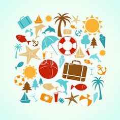 Set of vector summer icons contain holiday, travel and vacation things