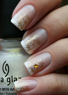 french mani accented with delicate gold stamping...so pretty