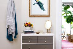 grey and white dresser