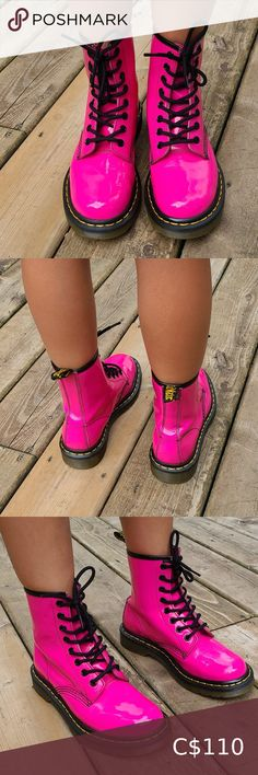 DR. MARTENS 8 HOLE, PINK, SIZE 5 DR. MARTENS 8 WHOLE ALMOST LIKE NEW MIDCONDITION  NEON PINK COLOR SIZE 5 Dr. Martens Shoes Combat & Moto Boots Tropical Fashion, Purple Fashion, Neon Pink Shirts, Corporate Shirts, Food Logo Design, Shoe Boots, Moto Boots, Shoes, Pool Fashion