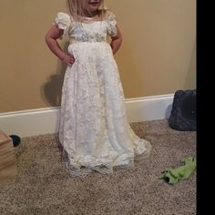 Alexis Bettencourt added a photo of their purchase Flower Girl Dresses Country, Rustic Flower Girls, Girls Lace Dress, Lace Flower Girls, Flower Dresses, Girls Dresses, Dress Lace, Yellow Lace Dresses, Ivory Dresses