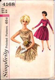 """Simplicity 4168…Misses' One-Piece Dress Pattern in Size 16. Pattern is cut and all the pieces & instructions are there. Envelope in very condition. This pattern is 1962. """"Dress with lowered cowl neckline in front, left side zipper closing and gathered skirt. V. 1 has long set-in sleeves with zipper closings at wrists. Tie belt is self fabric or purchased. Sleeveless V. 2 has velvet ribbon and flower trim."""" Size 16: Bust 36"""", Waist 28"""", Hip 38"""""""