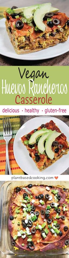 Vegan Huevos Rancheros Casserole - Here's my healthy take on eating savory, dinner-inspired dishes for breakfast loaded with protein, Vegan Huevos Rancheros Casserole. All plant-based goodness. Vegan Breakfast Recipes, Delicious Vegan Recipes, Healthy Recipes, Breakfast Pizza, Vegetarian Breakfast, Plant Based Diet Meals, Plant Based Eating, Huevos Rancheros, Mexican Food Recipes