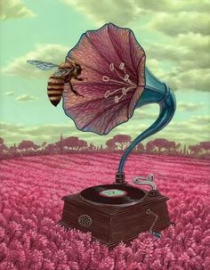 """supersonicart: """" Casey Weldon's """"Novel Relic"""" at Roq La Rue. Casey Weldon will have a spectacular set of new paintings on display starting tonight, Thursday August at Roq La Rue in Seattle,. Art And Illustration, Street Art, Bee Art, Inspiration Art, Save The Bees, Bees Knees, Surreal Art, Vinyl Art, Cool Art"""