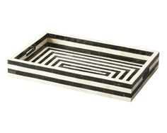 SHOP HOME DECOR NOW! Bone Inlay Furniture - Black & White Rectangle Striped Modern Decorative Serving Tray | Free Shipping by Heathertique