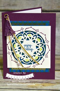 The Eastern Palace Suite - Stampin Up. Eastern Beauty Stamp Set, Eastern Medallions Framelits. Fresh Fig, Tranquil Tide, Dapper Demin, Lemon Lime Twist. Dawn Bourgette - Dawns Creative Chalet