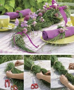 Diy Table decorations ♥♥♥ - would look great with bright yellow flowers too methinks!