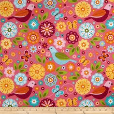 Riley Blake Summer Song 2 Flannel Main Pink from @fabricdotcom  Designed by Zoe Pearn for Riley Blake, this soft, double napped (brushed on both sides) flannel fabric is perfect for quilting, apparel, and home decor accents. Colors include brown, white, orange, yellow, shades of pink, shades of green, and shades of blue.
